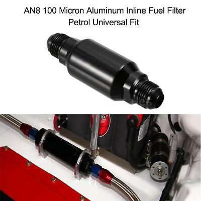AN8 100 32MM Micron Aluminum Inline Fuel Filter/ Petrol Universal Fit Black