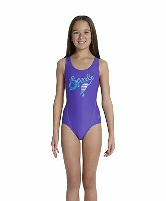 Speedo Logo Plmt Spbk Jf Costume, Bambina, Multicolore (Purple/Blue), 30