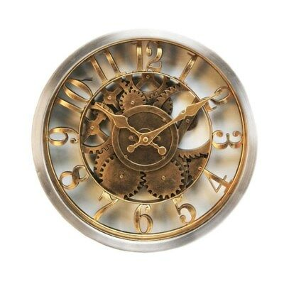 Beautiful Wall Clock Rustic Style Gold Case Skeleton Dial 30cm
