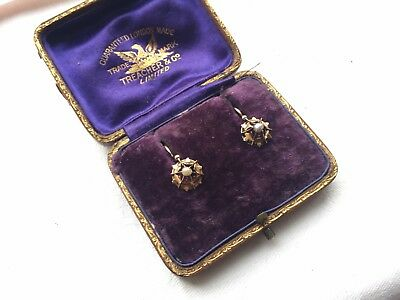 Pair of Antique French Pearl 18ct gold earrings