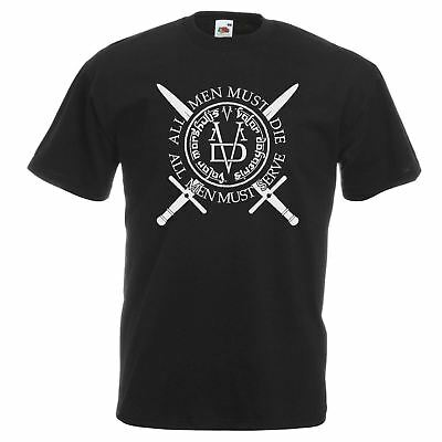Mens Valar Morghulis Sigil T-Shirt House Of Black & White Game Of Thrones Top