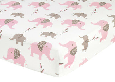 Sweet Jojo Designs Pink Mod Crib or Toddler Fitted Sheet Bedding -Elephant Print