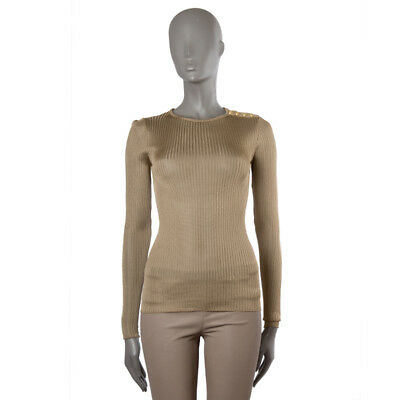 42693 auth BALMAIN golden beige viscose KNIT Sweater Shirt 38 S
