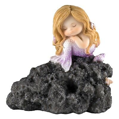 """Little Purple Mermaid In Thought On Rock Figurine 3.5"""" High Resin New In Box!"""