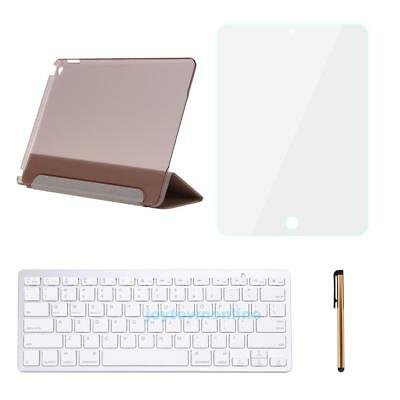 For iPad Air 2 Stand Leather Case Cover Smart With Bluetooth Keyboard Rose Gold