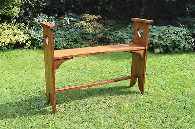Beautiful Arts and Crafts oak window seat hall bench heart cut out design c.1910
