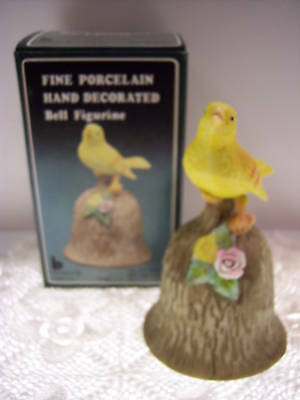 PORCELAIN BISQUE BELL Yellow Canary on Bark NIB * FREE USA SHIPPING