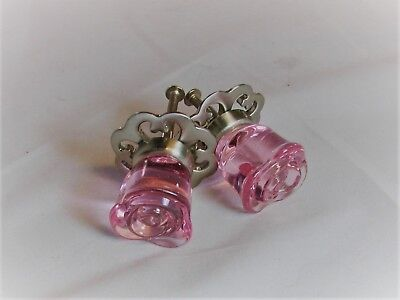 Pink Glass Flower Rose Cabinet Knob Drawer Pull 2