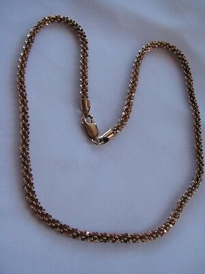 "ROSE GOLD over STERLING SILVER Fancy FLAT POPCORN? CHAIN NECKLACE Heavy 18"" 5MM"