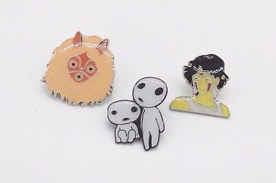 3 Princess Mononoke Kodama Tree Spirit & Shan Pin Badge Set ~Brand New~