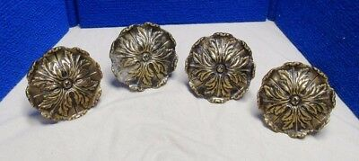 4 Antique Vintage Brass Curtain Drape Tiebacks Flower Form