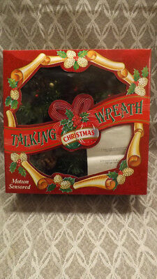 "Vtg NOS Gemmy Animated Singing/Talking Christmas Wreath 14"" Motion Activated"