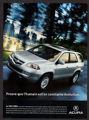 2004 ACURA MDX Original Print AD - Silver car photo, town, speed, night