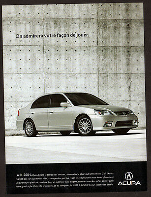 2004 ACURA EL Original Print AD - Silver car photo, 4-door sedan french canada