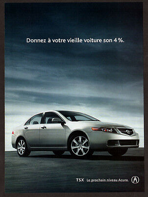 2004 ACURA TSX Original Print AD - Silver car photo, sky, french canadian