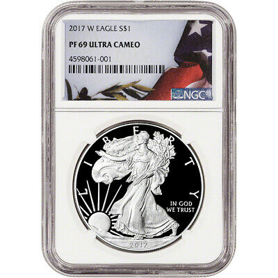 2017-W American Silver Eagle Proof - NGC PF69 UCAM - Flag Label