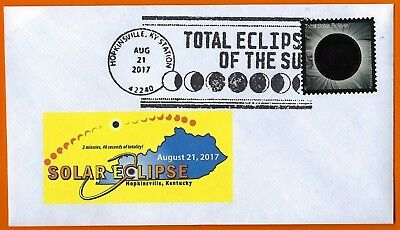 Total Eclipse of the Sun. HOPKINSVILLE KENTUCKY. Postal Event Cover and Stamp