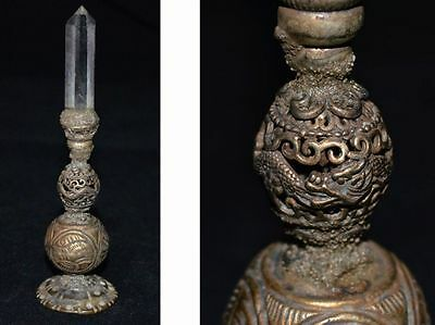 China Qing Dynasty Goverment Official Position Bronze Hat Decoration Crystal 帽顶
