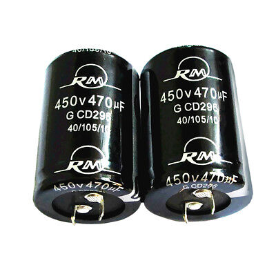 2pcs Electrolytic Capacitor 450V 470µF Cylindrical Radial 2-Pin Snap In Type