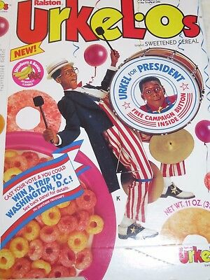 1992 New URKEL O's VINTAGE CEREAL BOX For President Colorful Graphics DC Trip
