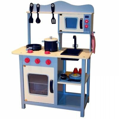 Wooden Blue Kitchen Cooking Role Play Pretend Toy Cooker Oven Utensils Pan Set