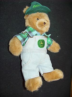 """John Deere teddy bear with cap and overalls with logos 14-1/2"""" tall Bear Works"""