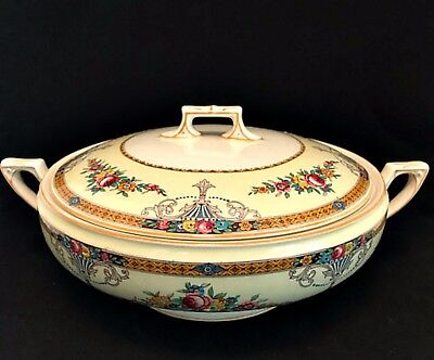 Large Round Covered Vegetable Bowl with Lid Carlton Myott Staffordshire England