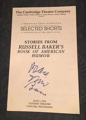 Signed Playbill STORIES FROM RUSSELL BAKER'S BOOK OF AMERICAN HUMOR Vinie Burrow