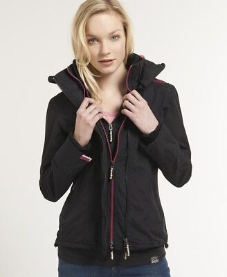 New Womens Superdry Technical SD-Windcheater Jacket Black