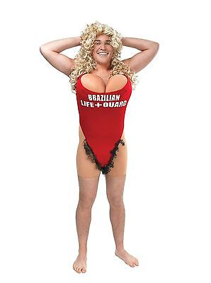 Hairy Mary Lifeguard Swimsuit Stag Do Funny Fancy Dress Costume Adult Outfit
