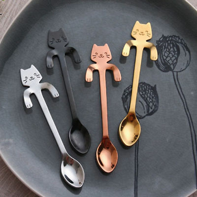 Fashion Cute Cat Stainless Steel Tea Coffee Ice Cream Spoon Kitchen Supplies Cup