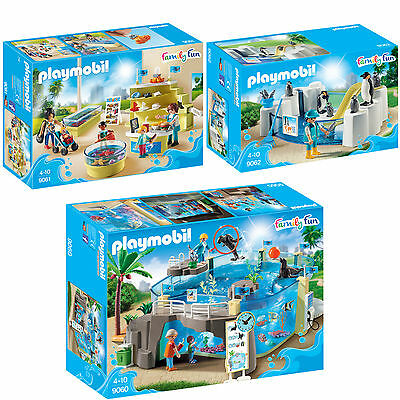 PLAYMOBIL Family Fun 3er Set 9060 9061 9062 Meeresaquarium + Shop & Pinguine