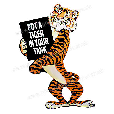 """Esso Put Tiger In Your Tank Digitally Cut Out Vinyl Sticker. 3.5"""" X 5"""" Overall."""