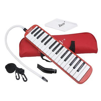 32 Piano Keys Melodica for Beginner Kids Children Gift with Bag Red Y4K7