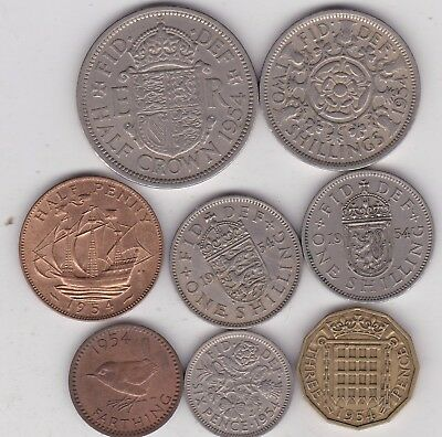 1954 Elizabeth Ii Part Set Of 8 Coins In Very Fine Or Better Condition