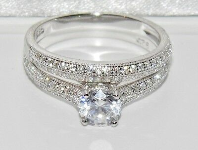 Beautiful Sterling Silver (925) 1.00ct Bridal Set Ring - size T (2 Ring's)