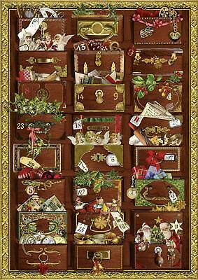 Deluxe Traditional Card Advent Calendar A4 - Victorian Christmas Treasure Chest