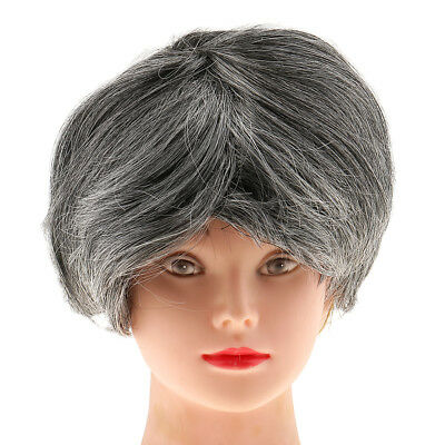 Short Gray Dark Wig Old Man Old Lady Costume Adult Cosplay Fancy Dress