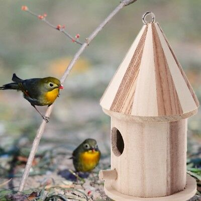 Wooden Small Bird Cage House Hanging Nest Nesting Box For Home Garden Decor