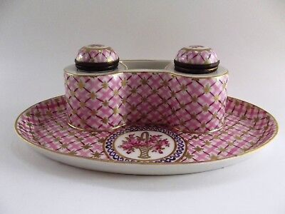 Antique French Porcelain Inkstand With Twin Bottles Ref 1129/4