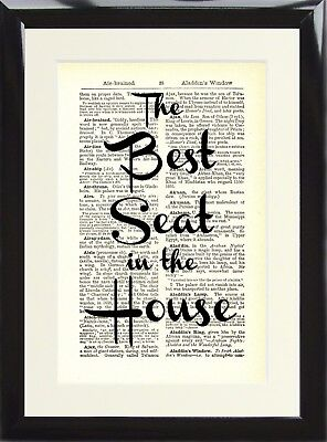 Vintage Dictionary Art Print The Best Seat in the House Funny Toilet Loo Poster