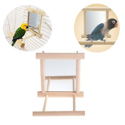 Pet Bird Mirror Wooden Play Toy with Perch For Parrot Parakeet Finch Lovebird
