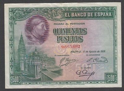 500 Pesetas From Spain 1928 A6 XF