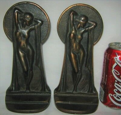 Antique Usa Key Hole Nude Chic Lady Bust Art Statue Cast Iron Bookends Bronze Ny