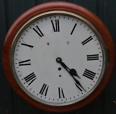 Large Old Wooden Round Fusee Wall Clock To Tidy Up