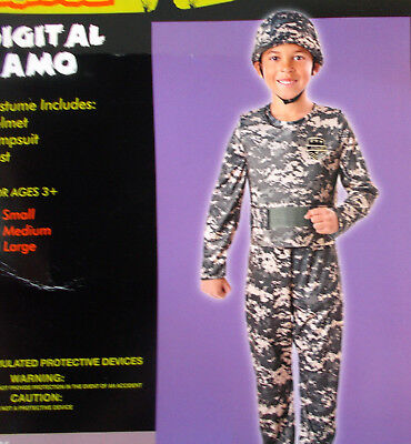Digital Camo Camouflauge Army Child Costume Covered Helmet S M L NIP