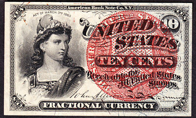 US 10c Fractional Currency Note FR 1261 Ch CU