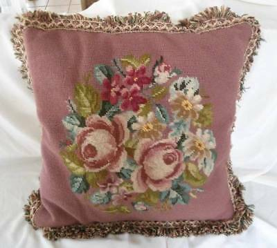 "Vintage 17"" Wool Needlepoint Pillow Velvet Back Fringe Pink Rose Floral"