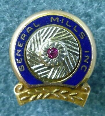 General Mills Service Screw Back Pin 10K Yellow Gold Ruby