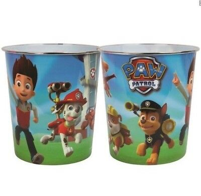 Kids Bedroom Bin Paw Patrol Chase Zuma Plastic Waste Bin Childrens Girls Boys